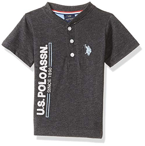 (U.S. Polo Assn. Baby Boys Short Sleeve Henley T-Shirt, Side Logo Multi Plaid, 18M)