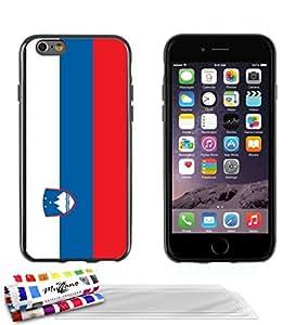 """Carcasa Flexible Ultra-Slim APPLE IPHONE 6 PLUS 5.5 POUCES de exclusivo motivo [Bandera Eslovenia] [Negra] de MUZZANO  + 3 Pelliculas de Pantalla """"UltraClear"""" + ESTILETE y PAÑO MUZZANO REGALADOS - La Protección Antigolpes ULTIMA, ELEGANTE Y DURADERA para su APPLE IPHONE 6 PLUS 5.5 POUCES"""