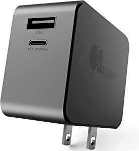 ALLWAY USB Wall Charger, 30W Type C PD 3.0 Power Delivery Adapter with Foldable Plug, Dual Port Ultra Compact USB C Travel Charger Compatible with iPhone 12/11/Pro/Max/SE,MacBook Pro/Air,Ipad Pro