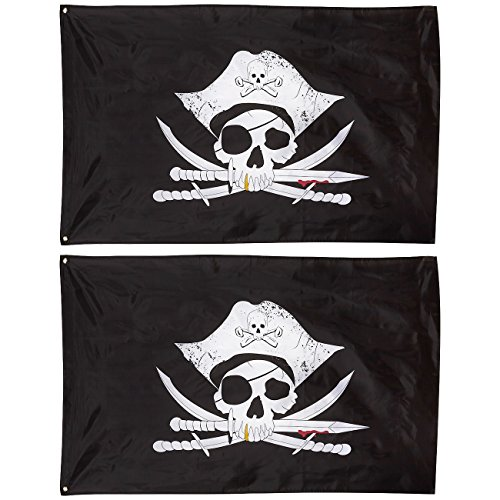 (Blue Panda Pirate Flags - 2-Pack Jolly Roger Skull Crossbones Pirate Flag Banners for Sea Party Decorations, Indoor Wall Hanging, Outdoor Flag Pole Display, Polyester - 3 x 5 Feet)