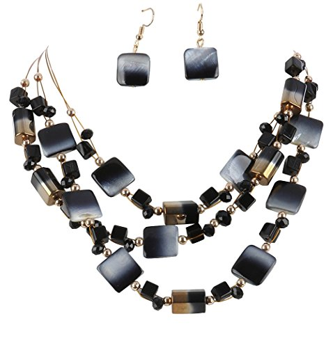 - 3 Strand Dove Gray Charcoal Black & Goldtone Ombre Shell & Glass Bead Layered Bib Necklace 16