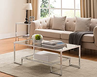 "Tempered Clear Glass / Chrome Metal Frame Cocktail Coffee Table with Bottom Shelf 44""W"