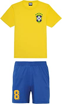 Print Me A Shirt Camiseta de Futbol Kit Equipo de Brazil Brasil Personalizable para Ninos.: Amazon.es: Deportes y aire libre