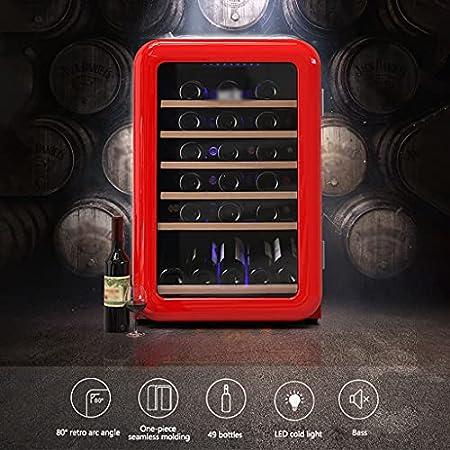 SHENXINCI 115L de Capacidad Vinotecas Vintage 49 Botellas Vinoteca de Temperatura Constante,con Luz LED Fría Mini Nevera,4 ℃ ~ 22 ℃ Rango de Temperatura Constante