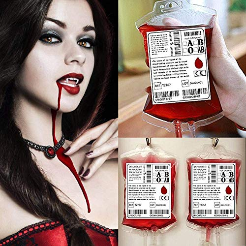 COKOHAPPY Blood Bag Drink Container Set of 10 IV Bags 12 Fl.Oz with Syringe Extra Fast Filling, Doctor Nursing / RN Graduation Vampire Zombie Theme Party -