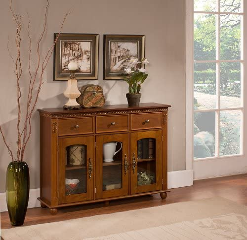 Kings Brand Furniture – Penrose Wood Glass Sideboard Buffet Cabinet, Walnut