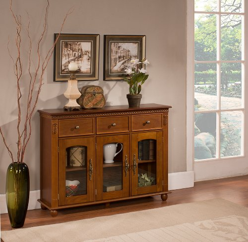 Kings Brand Furniture Wood with Glass Doors Console Sideboard Buffet Table with Storage, Walnut