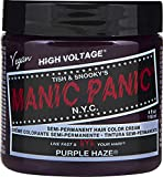 Manic Panic Purple Haze Hair Color Cream – Classic High Voltage - Semi-Permanent Hair Dye - Vivid, Purple Shade - For Dark, Light Hair – Vegan, PPD & Ammonia-Free - Ready-to-Use, No-Mix Coloring