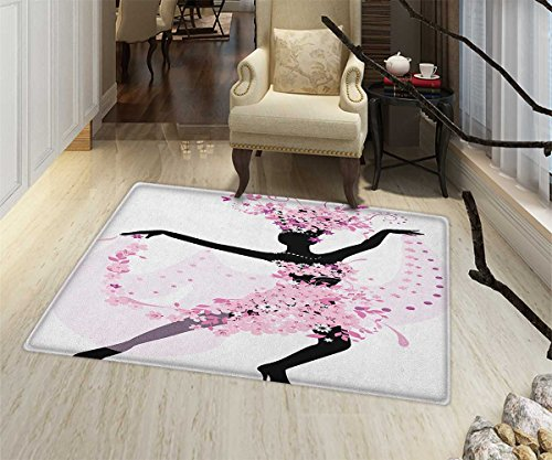 Latin Anti-Skid Area Rug Silhouette of a Woman Dancing Samba Salsa Latin Dances Spain and Mexico Culture Print Floor Mat Pattern 24''x36'' Pink Black by lacencn