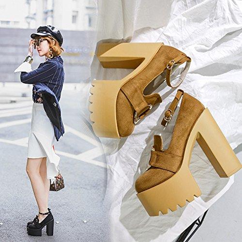 ZHZNVX Nuevos zapatos de tacón grueso con hasp Taiwán impermeable zapatos de mujer black