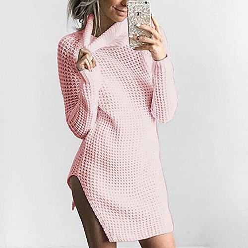 (Fmeijia Sweaters Women High-Necked Long-Sleeved Knitted Wool Split Dress Sweater)
