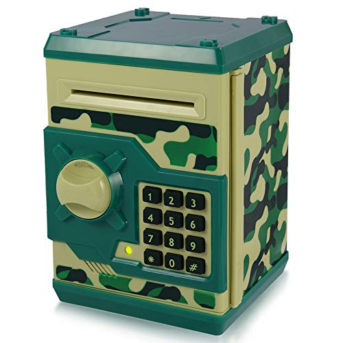 APUPPY Cartoon Password Piggy Bank Cash Coin Can,Electronic Money Bank,Birthday Gifts Toy Gifts for Kids (Camouflage Green)