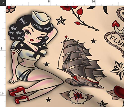 Spoonflower Pinup Fabric - Suzy Sailor Pattern Super Large! Nautical Retro Vintage Tattoo Flash Print on Fabric by The Yard - Petal Signature Cotton for Sewing Quilting Apparel Crafts Decor (Retro Quilting Fabric)