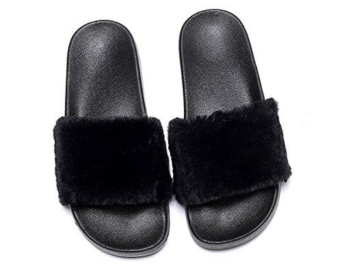 Women's Soft Faux Fur Marabou Flat Slide Sandal (9, Black)