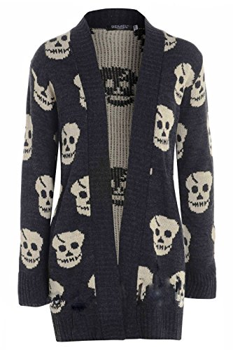 My1stWish Skull Femme Over All Charcoal Gilet qrrwx1