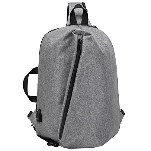 "PANGOIE Large Sling Bag Mochila Pack 13"" 14"" Laptop Bag Satchel Youth School Mochila De Viaje Escolar 2 Colores (negro, Gris) Grey"