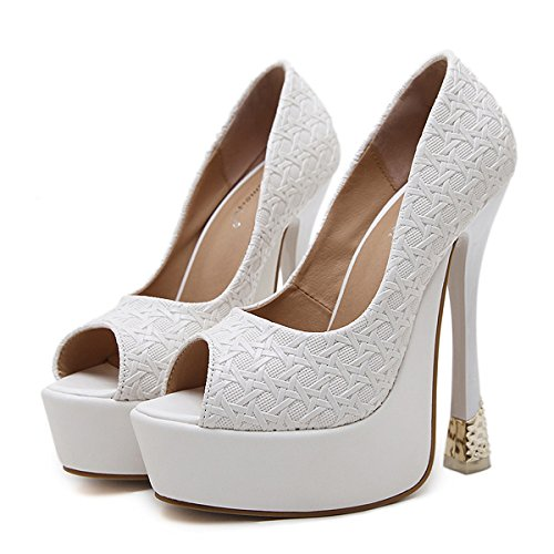 ZPFME Stiletto De Las Mujeres Sexy High Heels Extreme Slip-On Sandals Ladies Party Peep Toe Shoes Party Wedding Strappy Pumps Blanco