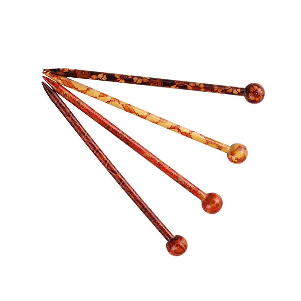 SGerste 4 Patterns 5.12'' Vintage Chic Hair Sticks Printed Wood Hairpin Chopsticks Wooden Hairpin Needle Womens Ladies Headdress Jewelry Accessories
