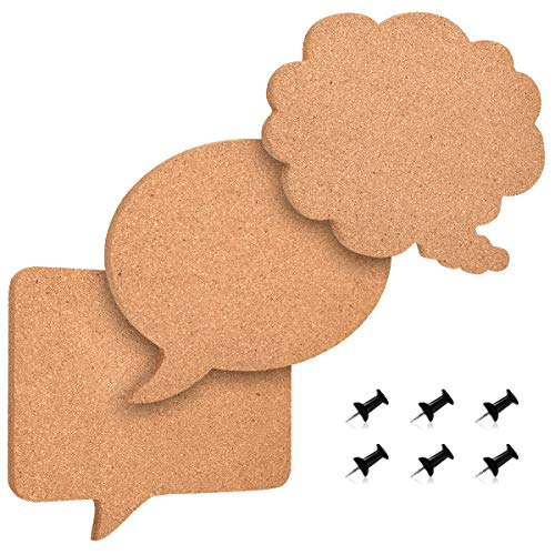 (Navaris Cork Memo Board Set - 3X Pieces Decorative Cork Boards in Different Speech and Thought Bubble Shapes with Push Pins for Kitchen, Home, Office)