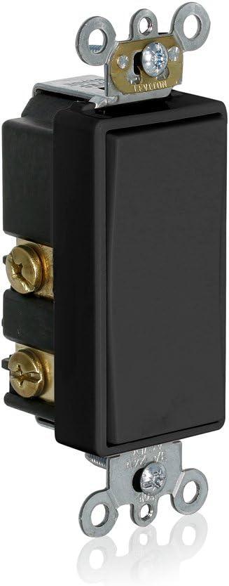 Leviton 56080-2E Momentary Contact SPST Decora Plus Rocker Switch, Black
