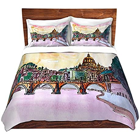 DiaNoche Designs Vatican Rome Italy Sunset Saint Peter Ll Cover Brushed Twill Twin Queen 8 King Duvet Sham Set