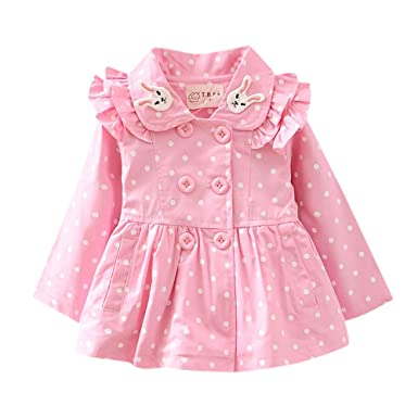 22b42c12fea Lu Baby Girls Cotton Full Sleeves Polka Dot Print Coat in Pink Color for  Age 3