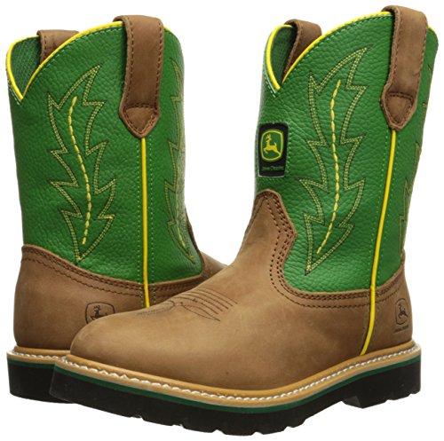 John Deere 3186 Western Boot (Little Kid/Big Kid),Tan/Green,5 M US Big Kid