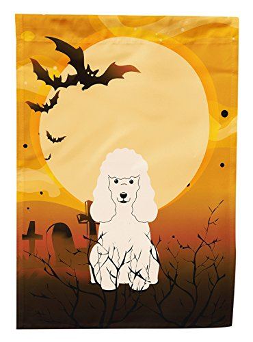 Halloween Poodle (Caroline's Treasures BB4336GF Halloween Poodle White Garden Size Flag, Small, Multicolor)