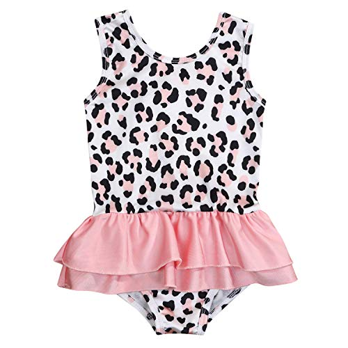 Kids Toddler Baby Girls Summer Clothes Outfits Set Leopard Print Bikini Swimsuit Ruffles Tutu Skirt Beachwear Swimwear (Leopard, 3-4 Years)]()