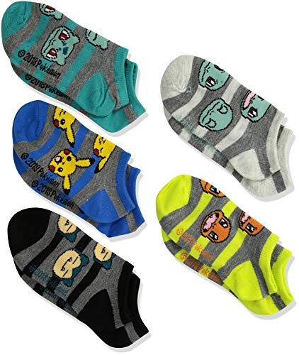 Pokemon Boys' Big 5 Pack No Show, Fits Sock Size 6-8.5 fits Shoe Size 7.5-3.5, assorted grey stripe/el (Pokemon Shoes Boys)