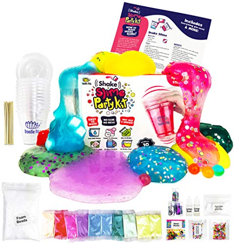 No Glue. Shake Slime Kit for Girls and Boys for 10 Kinds of Shaker Slime. No Mess. Just Add Water, Mix, and Shake. Includes Fun Toppings and Take-Home Storage Cups.