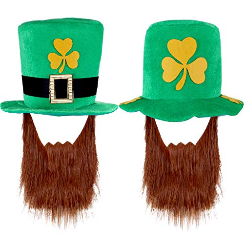 Jovitec 2 Pieces St Patrick's Hat with Beard for St Patrick's Men Women Costume Green -