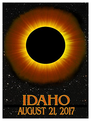 Idaho Solar Eclipse Giclee Travel Art Poster (9 x 12 inch) Art Print for Bedroom, Family Room, Kitchen, Dorm Room or Office Wall - Idaho Falls Mall