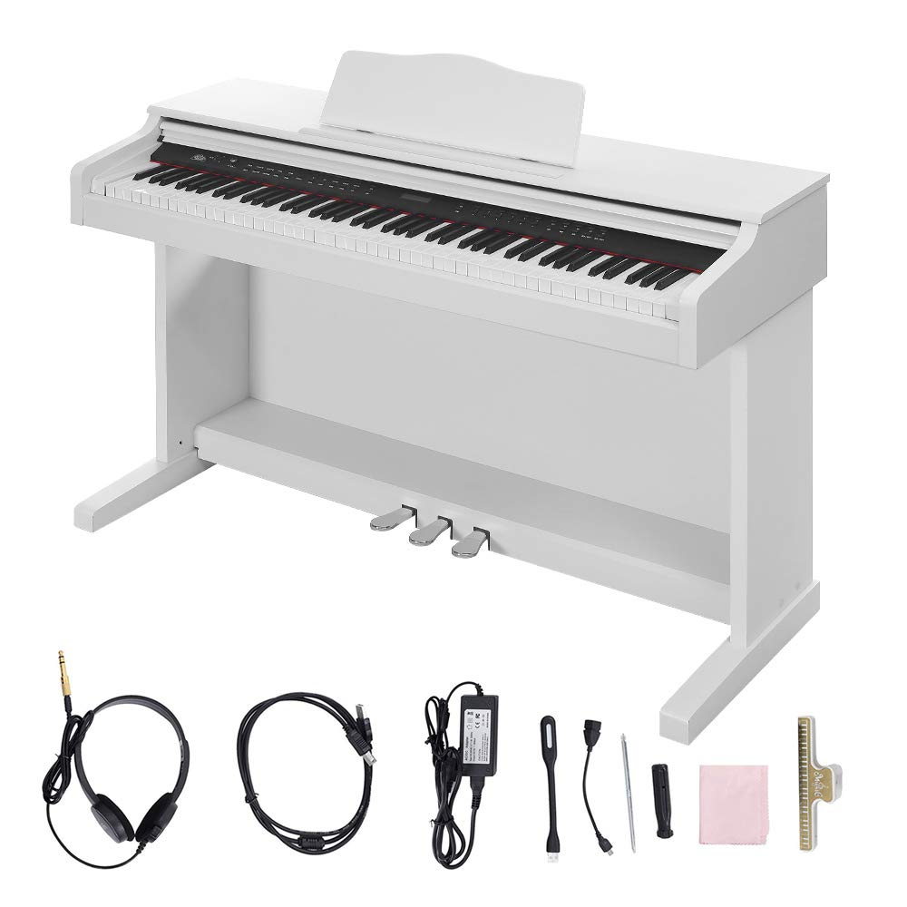 Digital Piano,Les Ailes de la Voix 88 Key Electric Piano Portable for Beginner Adults with 3 Pedal Board,Music Stand,Power Adapter, Headphone,Instruction Book White