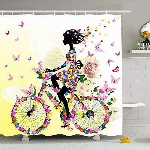 (Ahawoso Shower Curtain 72x78 Inches Bike Girl On Bicycle Activity Romantic Nature Flower Butterfly Waterproof Polyester Fabric Set with Hooks)