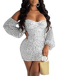 Silver Sequin Mini Dress - Off Shoulder Long Sleeve V Neck