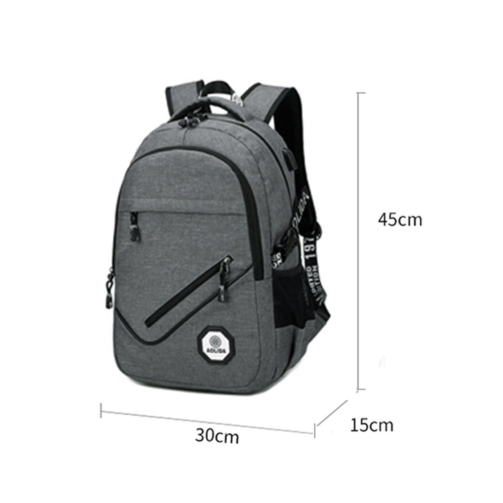 Slim Laptop Backpack, NOPTEG 15 15.6 Inch Water Resistant Polyester College Backpacks Lightweight Travel Bag for Women & Men with w/ USB Charging Port, Fits UNDER 15.6 Laptop/ Computer (Gray)