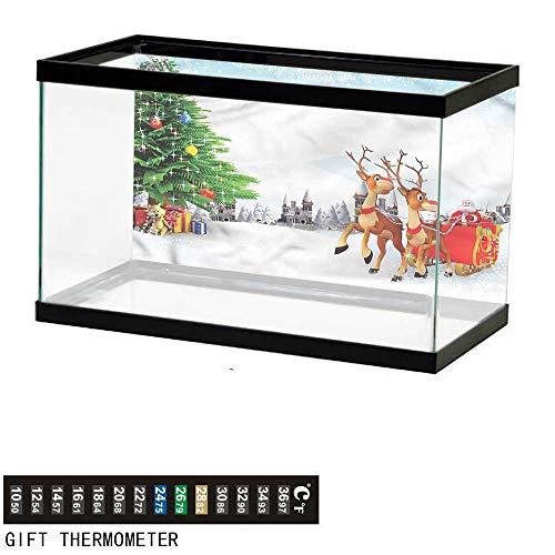 Fish Tank Backdrop Santa,Snowy Village Sleigh Tree,Aquarium Background,30