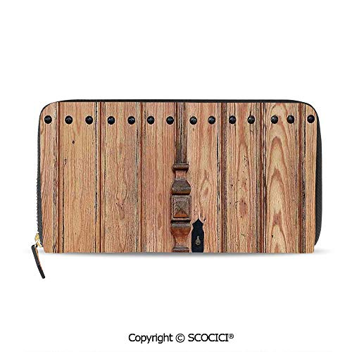 SCOCICI Women 2 fold Long wallet Wooden Door with Iron One Size,W8xL4 Inches 0.125' Bi Fold Door