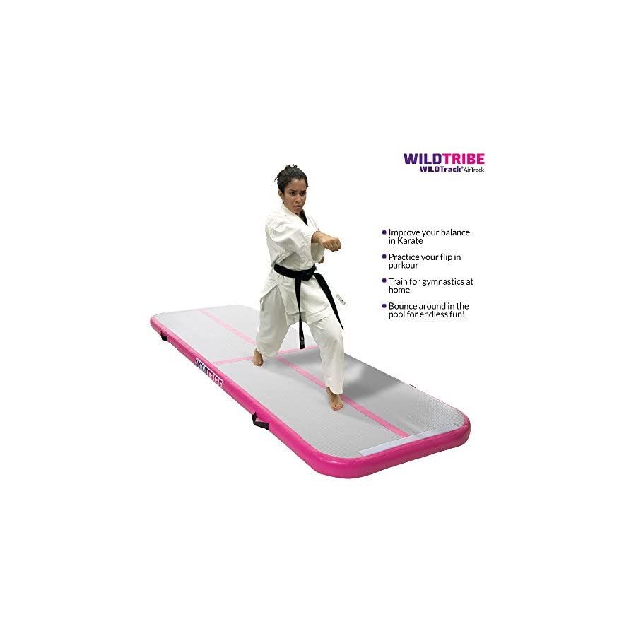 "✅Air Track Tumbling Mat ✅ (10' x 3' x 4"") WILDTrack Home and Gym Use Airtrack gymnastics mat with free fast action electric pump (PINK)"