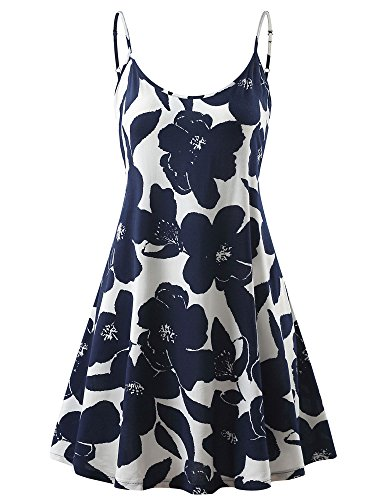 veless Adjustable Strappy Summer Beach Swing Dress (X-Small, Navy Flowers) ()