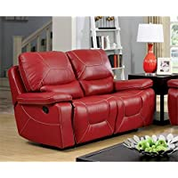 Furniture of America Huskan Leather Reclining Loveseat in Red