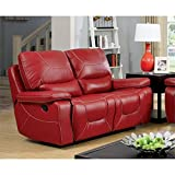 Furniture of America Huskan Leather Reclining Loveseat in Red