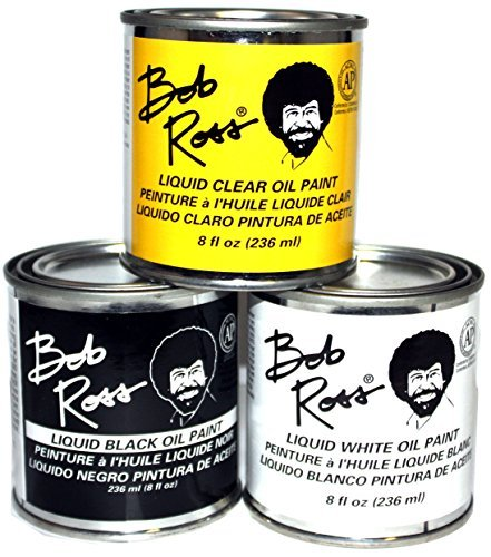 Bob Ross 3 Piece 8oz Liquid Basecoat Set (Liquid White, Liquid Black, and Liquid Clear)