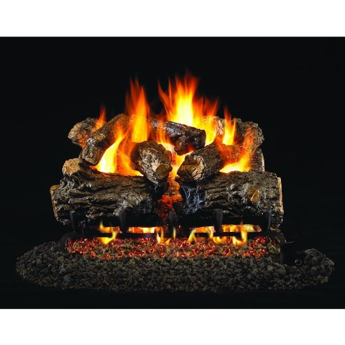 (Peterson Real Fyre 24-inch Burnt Rustic Oak Gas Log Set With Vented Propane G4 Burner - Manual Safety)