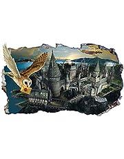 Chicbanners Harry Potter Zweinstein Kasteel Hedwig Uil 3D Magisch Venster V555 Muursticker Zelfklevende Poster Muur Art Maat 1000mm breed x 600mm diep (groot)