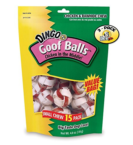 Dingo Small Goof Balls Value Bag of 15 Dog Treats - 3 PACK (Dingo Balls)