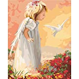 LICSE Painting for Adults Paint By Number Kit 16 x 20 White Pigeon Angel