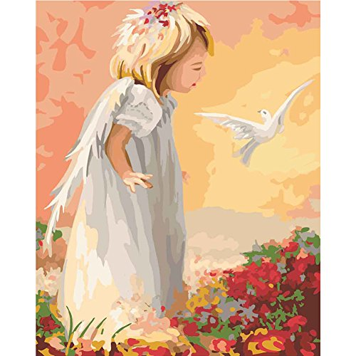 LICSE Painting for Adults Paint By Number Kit 16 x 20 White Pigeon Angel by LICSE