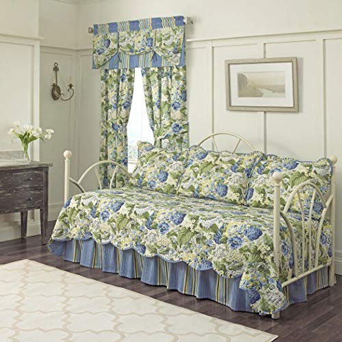 5 Piece Blue Green White Floral Daybed Set Bedding, Geometric French Country Shabby Chic Motif Flower Cottage Leaf Pattern Day Bed Bedskirt Pillows, Polyester